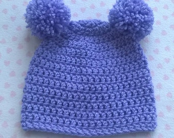 Double Pompom newborn lilac hat bear hat crochet hat hand made hat washable baby hat 2 bobbles / pom poms can be made in other colours/sizes
