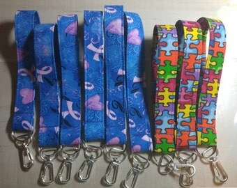 Breast cancer/Autism key chains wristlet size