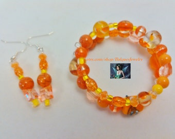 Orange Memory Wire Bracelet and Earrings  MWB&E#903