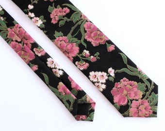 Black, Pink, & Gold Floral Skinny Tie - Women's Flower Tie - Cotton Tie with Gold Accents
