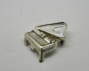 Vintage silver tone piano brooch