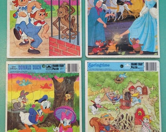 Set of FIVE Golden Frame Tray Puzzles from the 1970's and 80's Vintage Children's Puzzles Vintage Disney Puzzles