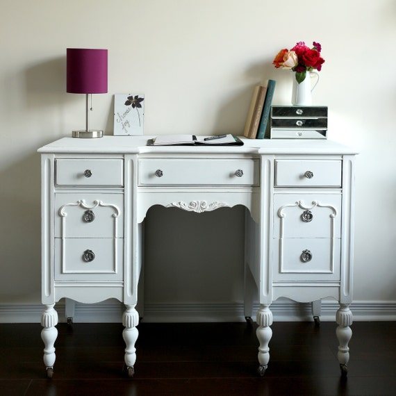Items similar to antique desk vanity white shabby chic furniture home office desk vintage - Antique white home office furniture ...