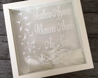 Feathers Appear Whenever Angels Are Near Memorial Frame Quote Heaven Feathers Sky Rememberance