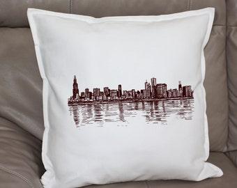 Chicago Illinois Skyline Art Cushion Decorative Throw Pillow Cover Case