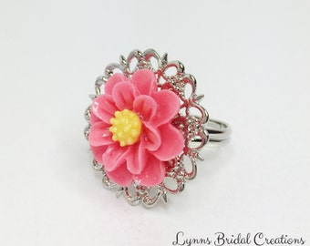 Pink Flower Ring Silver Filigree Ring Pink Adjustable Ring Resin Flower Jewelry Pink Bridesmaid Gift Pink Wedding Party Pretty Gift for Her