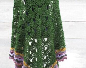 Crochet Shawl: Virus Crochet Shawl in Olive