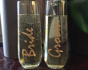 Stemless Champagne Flutes for Bride and Groom, Wedding Champagne Glasses, Champagne Toasting Glasses