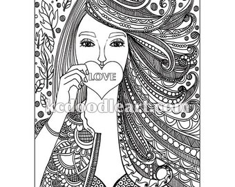 instant digital download adult coloring page love