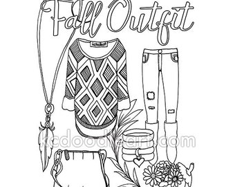 instant digital download - adult coloring page - fall outfit