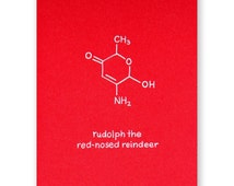 Rudolph Christmas Card - Nerd Xmas Card - Chemistry Holiday Card - Rudolph the Red Nosed Reindeer