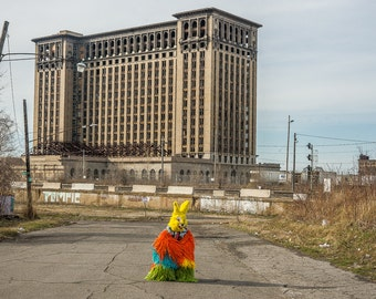 Artist Nick Cave in Bunny Rabbit Suit in front of Michigan Central Station in Detroit Photo Print  12 x 18