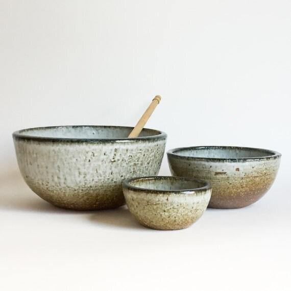 Nesting Bowl Set Ceramic Pottery Soup Noodle Mixing