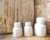 Porcelain Insulators Set of 3 Vintage Ceramic Paperweight Rare Old Rustic Industrial Decor Collectibles Book Ending Made in USSR