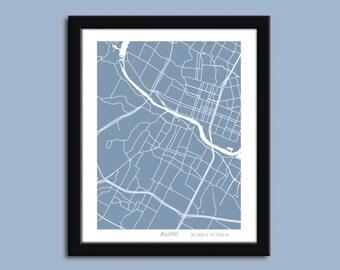 Austin map, Austin city map art, Austin wall art poster, Austin decorative map