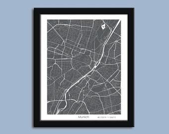 Munich Germany map, Munich city art map, Munich wall art poster, Munich decorative map