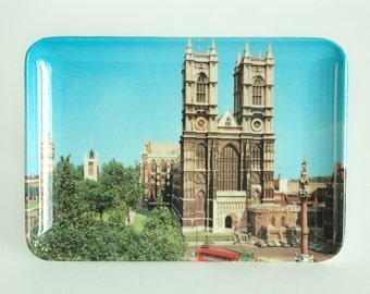 """Set of 4 Vintage Souvenir London 4"""" x 6"""" Melamine Photo Trays \ 4 Different Scenes"""