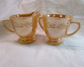 Fire King Peach Luster Creamer and Sugar Bowl