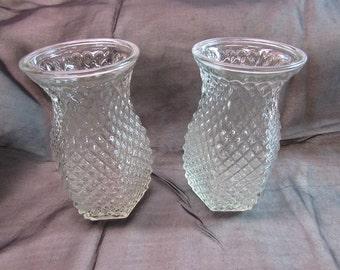 Hoosier Clear Hobnail Glass Vases