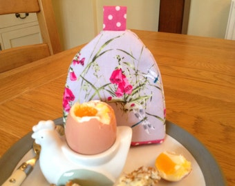 Egg cosy with pretty vintage style foxglove and dragonfly print fabric