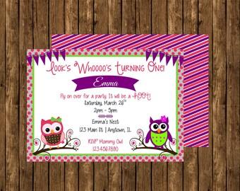 Owl Birthday Invites, Owl Themed Birthday Party, Cute Owl Birthday Invite