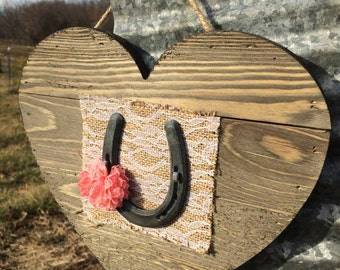 Metal pony shoe on heart with flower and burlap-wedding-good luck-western-cottage chic-rustic-farm-equestrian-cowgirl