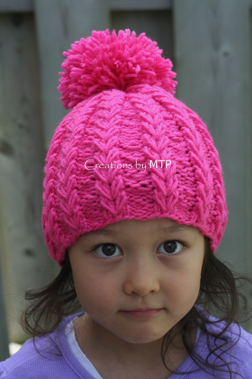 Knit Pom Pom Hat Pattern : PDF KNITTING PATTERN Heart String Knit Hat with Pom-Pom