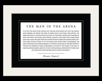 theodore teddy roosevelt the man in the arena quote 19x25 double matted to 13x19 framed picture