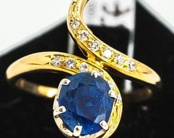 Old Mineralife Toi et Moi ring yellow Sapphire and diamonds