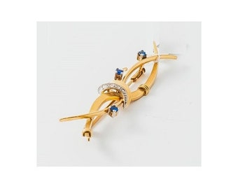 Old PIN Mineralife in yellow gold, diamonds and sapphires