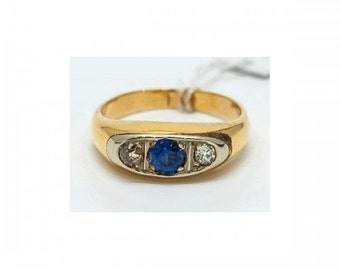 Ring Mineralife Art Deco yellow gold and Platinum with Sapphire and diamonds