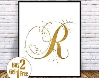Letter R Print, Letter poster, Letter Art print, Letter Decor, Painting, Letter Wall Art, Letter Wall decor, Gold Art print 5