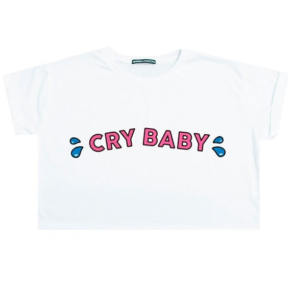Cry Baby Top Crop T Shirt Womens Ladies Fun Tumblr Hipster