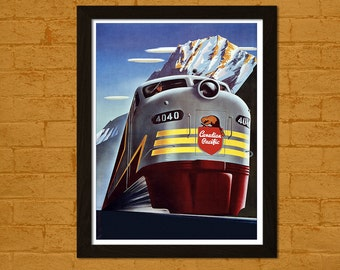 Canada Travel Print - Canada Poster Wall Decor Canada Print Travel Wall Art Canadian Pacific Train Poster