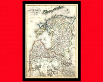 Old Latvia Map 1860 Estonia Map - Ancient Map Wall Art Antique Map Poster Old Map Wall Decor Latvia Map Estonia BUY 2 GET 1 FREE