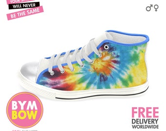 TIE DYE Sneakers, Tie Dye Shoes, Tie Dye High Top, Tie Dye Converse, Girly Sneakers, Colorful Shoes, Cute Hi Top Sneakers, Sneakers Printed