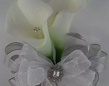 Ready to Ship White and Silver Wrist Corsage-Calla Lily Corsage-Rhinestone Corsage
