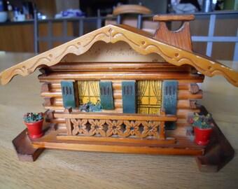 Charming Vintage/Kitsch Small Wooden Swiss Chalet Jewelry Trinket Box