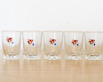 Floral Shot Glasses - Set of five - Retro