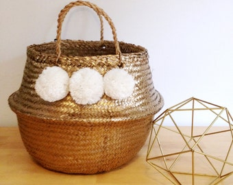 colourful pom pom sea grass belly basket panier boule storage. Black Bedroom Furniture Sets. Home Design Ideas