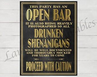 Open bar, Open bar sign, Open bar wedding, great gatsby party, great gatsby wedding, roaring 20s, roaring twenties, gold, prohibition era