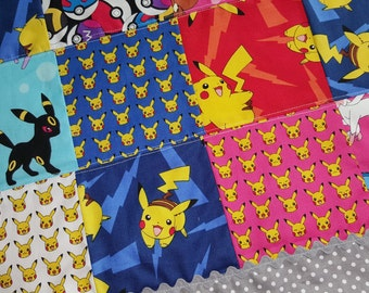 Patchwork baby quilt, Baby Blanket, Quilted Blanket, Baby Quilt, Toddler Blanket, Toddler Quilt, Soft Minky Back,Pokemon, Pokemon blanket