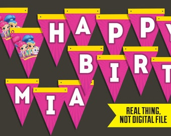 """Shimmer and Shine Pennant Style """"Happy Birthday"""" Banner Customized with Child's Name for Shimmer and Shine Party Decor"""