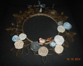 Recycled/Re-purposed Cardboard/Felt/Material Wreath