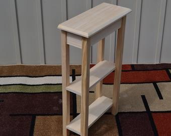 "Unfinished 18"" Narrow Console Sofa, Beveled Edge Pine Table w/2 Shelves"