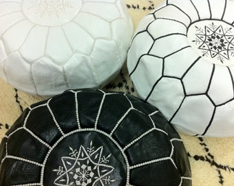 SET of 3 MOROCCAN POUF ,pouffes,Leather Handmade Moroccan Pouf, Ottoman Cover,Hassock,Pouffe,Pouffes
