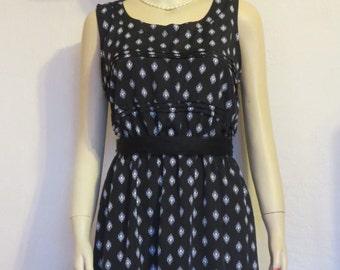 CLEARANCE SALE! Retro Vintage Style Xhiliration A-Line Black & White Geometric Print Dress Sz L