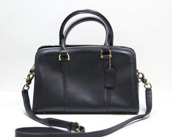 Vintage Coach Black Leather Small Shoulder Doctor Bag