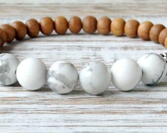 Sandalwood with Howlite Bracelet, Wrist Mala Beads, Yoga Gift, Meditation Chakra Bracelet, Yoga Gift, Calming + Soothing + Stress Relief