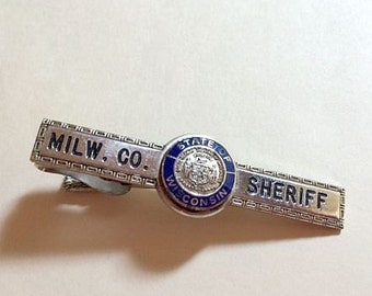 Vintage Milwaukee County Sheriff State of Wisconsin tie clip police tie clip sheriff tie clip Wisconsin tie clip Hook Fast 1970s
